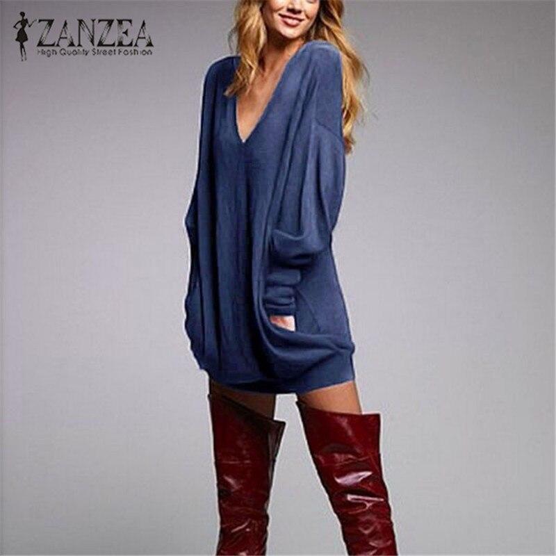 Zanzea plus size vestido feminino 2020 outono inverno sexy com decote em v solto curto mini vestidos femininos casual manga longa festa