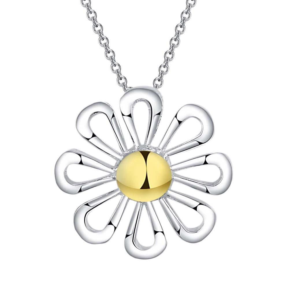Bela flor brilhante atacado Colar chapeada prata Nova Venda prata colares & pingentes/KFJWGCRS HCUXYXRZ