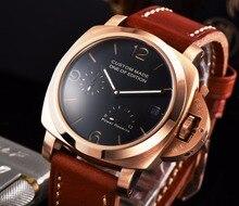 Bomax marina montre 42mm 2530 montre or 316L boîte en acier inoxydable hommes cadran noir haute qualité bracelet en cuir marron H630-14
