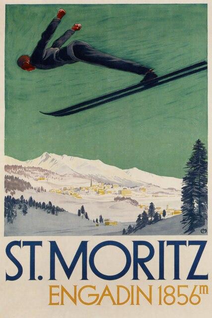 Póster de viaje de Deportes de esquí Vintage st. moritz engadin pinturas clásicas en lienzo pósteres de pared pegatinas decoración del hogar regalo