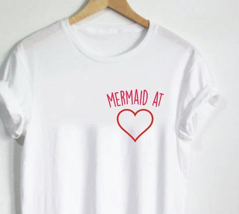 Camiseta feminina sereia no coração bolso letras imprimir algodão casual engraçado camisa para senhora branco topo t hipster T-73