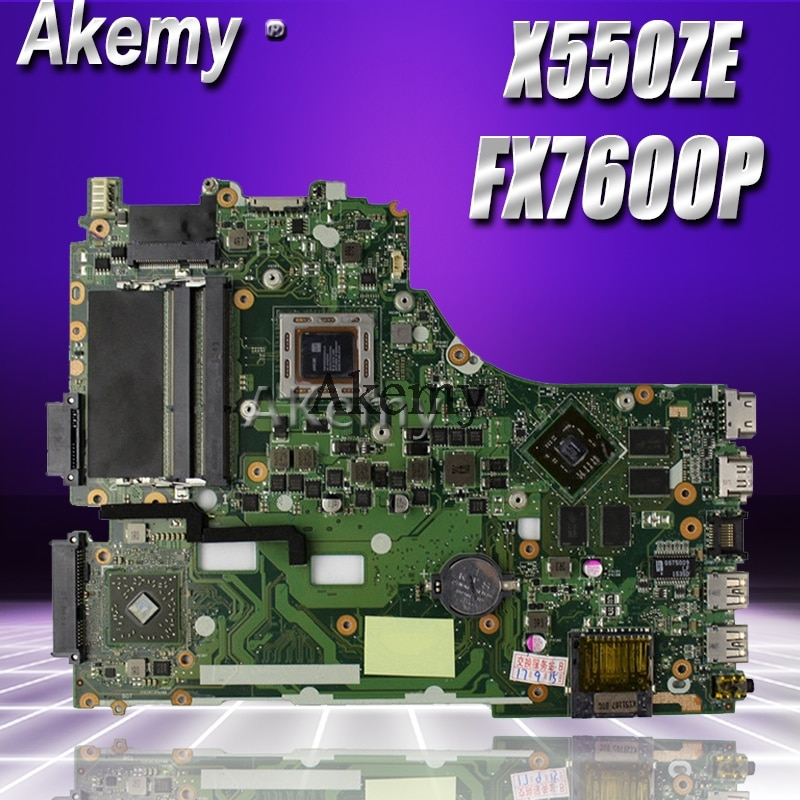 Akemy X550ZE placa base de Computadora Portátil para For Asus X550ZE X550Z X550 K550Z VM590Z A555Z K555Z X555Z prueba placa base original de FX7600P