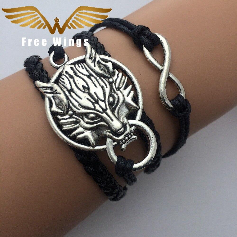 Cuerda León infinito Vintage pulseras de plata abrigo pulsera de cuero pulseras de encanto para mujeres joyería de moda hecha a mano amistad