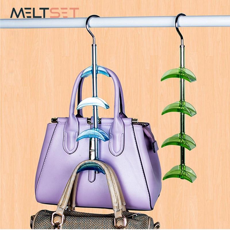 Hanging Handbag Closet Organizer Purse Storage Hanger with 4 Hooks Hat Bag Strap Belt Clothes Rack Wardrobe Organizer Buckle