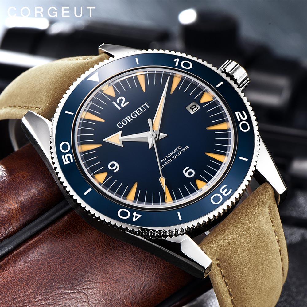 Corgeut-ساعة يد ميكانيكية عسكرية فاخرة ، ساعة يد جلدية فاخرة ، تصميم رياضي أوتوماتيكي MIYOTA