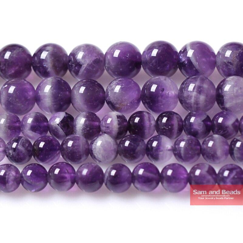 Бесплатная доставка, качественный Натуральный Камень, фиолетовый, аметисты, Круглые, свободные, бисер 15 дюймов, 4, 6, 8, 10, 12 мм