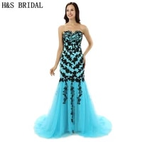 hs bridal tulle mermaid evening prom dresses long black lace appliques blue evening party gowns