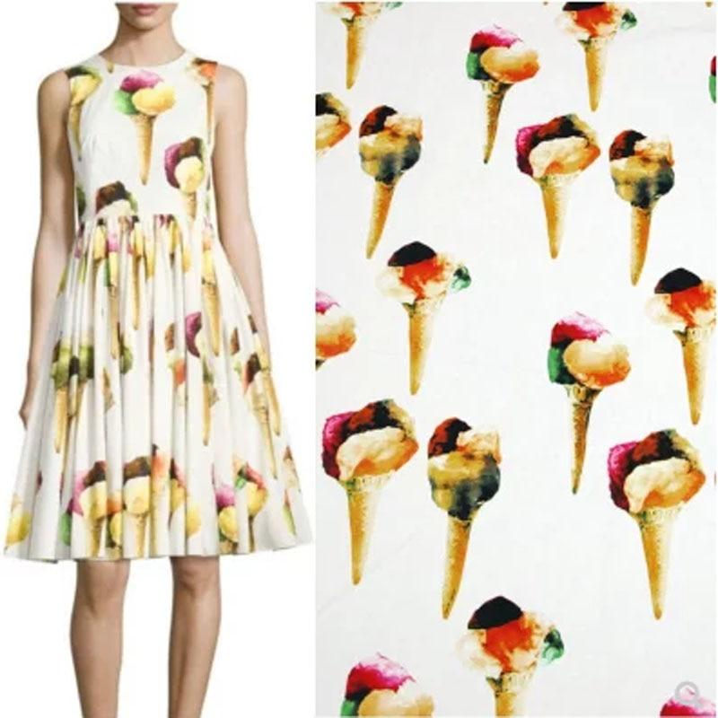 Ancho 145cm buena tela de algodón de alta densidad impresión negro/blanco helado tela de algodón costura Patchwork DIY ropa tela de vestido