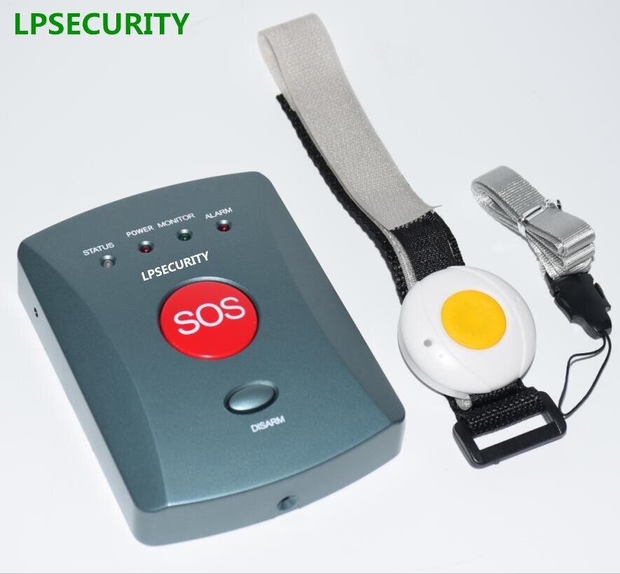 LPSECURITY 1 a 10 botones ancianos GSM kit de sistema de alarma inalámbrico con botón de pánico para emergencias alerta SMS llamada