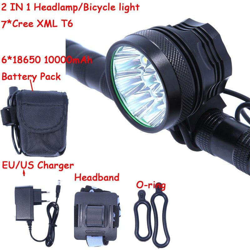 2 EM 1 Led Farol Da Bicicleta Luz 7 * T6 XM-L 3 modos 10000LM Bicicleta Luz Com 6*18650 10000 mAh Bateria + Carregador