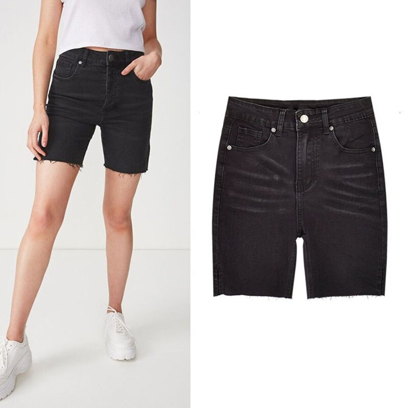 Primavera Verano mujer alta cintura Jeans estiramiento rodilla longitud mujeres pantalones cortos algodón Vintage Skinny negro pantalones cortos lavados