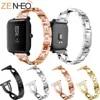 Bracelet de montre pour Xiaomi Huami Amazfit Bip BIT Lite Youth Smart Watch bracelets de remplacement en métal avec strass scintillants réglables