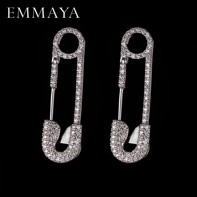 EMMAYA moda nuevo joyería CZ único color plata Pin pendiente Marca Diseño Stud pendientes para las mujeres