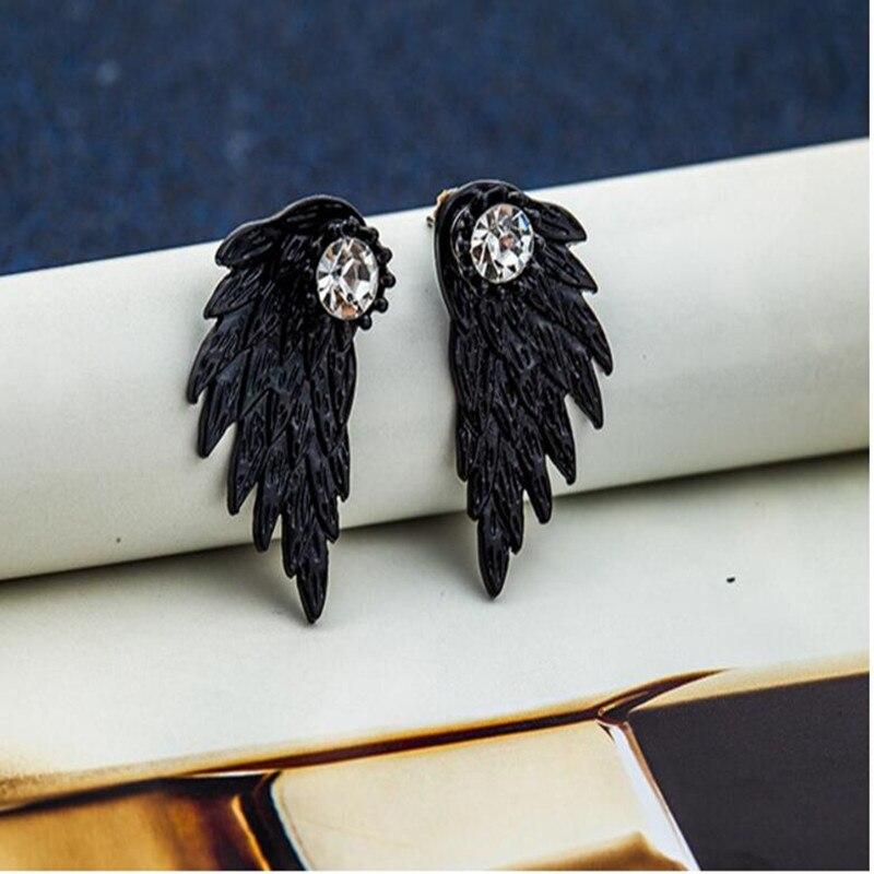 4 colores alas de Ángel de las mujeres pendientes de aleación de cristal incrustaciones pendientes de fiesta joyería Vintage pluma 2018 nuevo