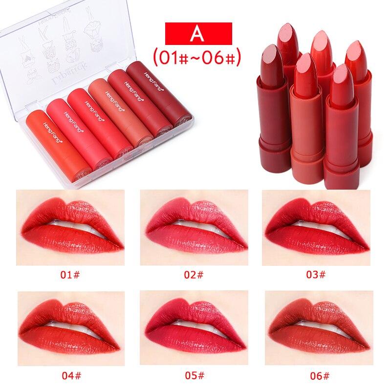 6 unids/set mujeres sedoso desnudo líquido lápiz labial terciopelo Sexy de larga duración impermeable brillo labios nutritivos maquillaje cosmético mate