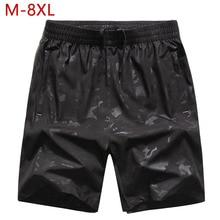 Plus Size M-8XL Mens Casual Summer Shorts Black Quick Dry Male Elastic Waist Short Patns Thin Breathable Shorts for Men