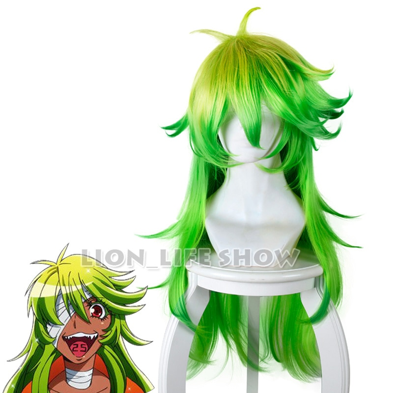 Casa de detención Anime Nanbaka peluca Nico pelucas Cosplay largo verde Peluca de cabello negro sintético pelucas Cosplay