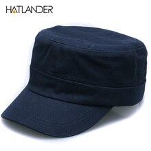 [HATLANDER]New fashion plain cotton Military hats unisex outdoor solid sun hat adjustable snapback gorra blank flat top Army cap