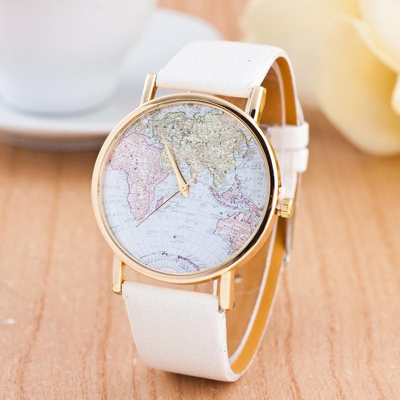 CAY Mode Frauen Uhren 2018 Welt Karte Frauen Männer Quarzuhr Casual Leder Damen Armbanduhr Weibliche Uhr Relogio Feminino