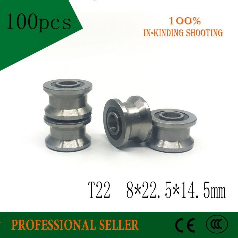 100 قطعة/الوحدة T22 تحمل 8x22.5x14.5x13.5 مللي متر T الأخدود محامل الصلب الكرة أخدود عميق تحمل آثار المشي دليل السكك الحديدية تحمل