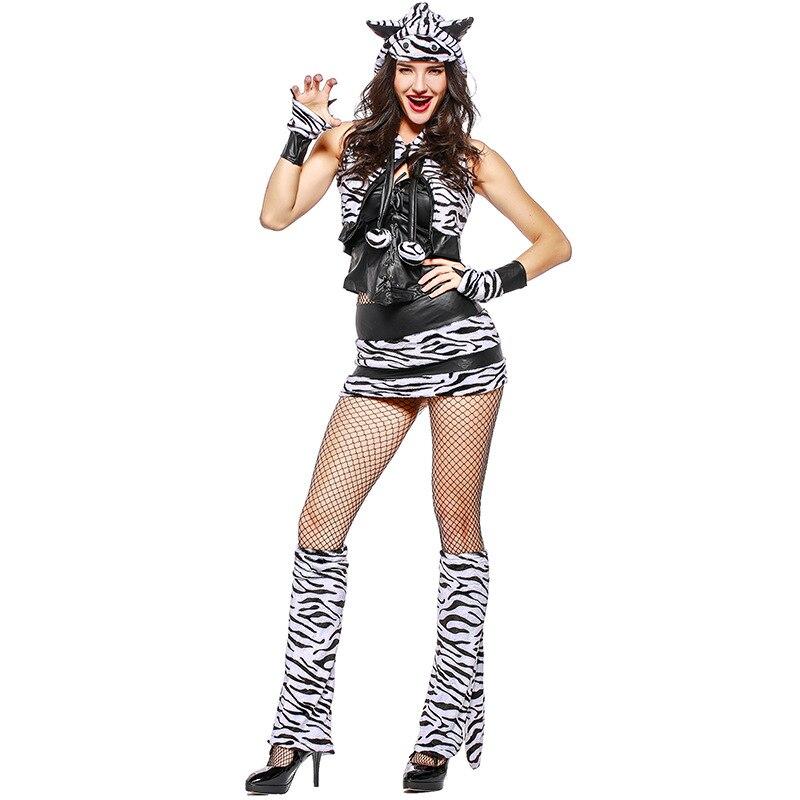 Full Set Adult Womens Sexy White Tiger Animal Theme Halloween Cosplay Costume