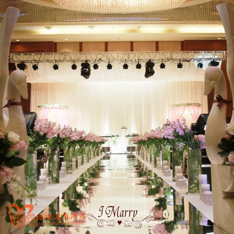 Exellent-مرآة زفاف فضية ذات وجهين 33 قدمًا × 1 متر ، عداء سجادة زفاف ، ديكور لممر الزفاف