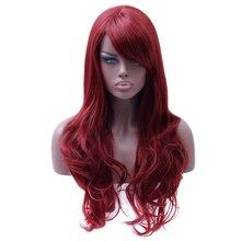 Perruque synthétique ondulée longue rouge WTB   Perruque de Cosplay en Fiber de haute température pour femmes, perruque afro-américaine