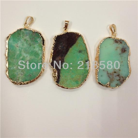 10 шт., Бесплатная форма, яблоко, зеленый, черизопраз камень подвеска из гальванического золота, длина около 45-55 мм
