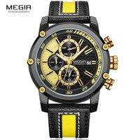 Мужские желтые спортивные Chrongoraph наручные часы армейские военные кожаные кварцевые часы мужские часы Relogios Masculino 2079G1N3