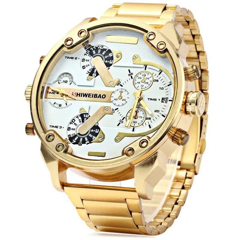 SHIWEIBAO-ساعة كوارتز رجالية ، كوارتز مزدوج ، ساعة يد ذهبية ، مينا كبيرة ، رياضية ، عسكرية