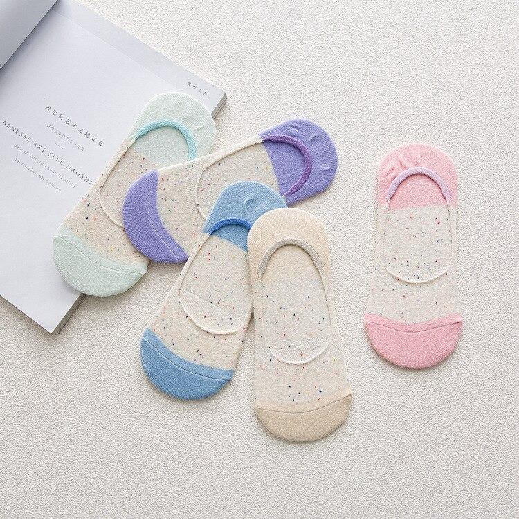 10 piezas = 5 pares de calcetines invisibles de señora de algodón de hilo de punto de silicona antideslizante para primavera y verano