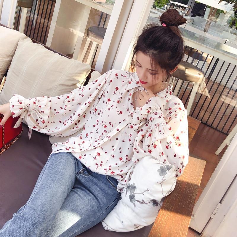 Mishow 2019 blusas de moda Casual de gasa blusa Floral de manga larga para mujeres blusas coreanas MX17D4547