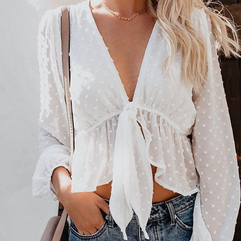 aliexpress - Blouse Women Sexy Transparent White Shirt Pullover Polka Dot Deep V-neck Detachable Bow Ruffles Lantern Sleeve Crop Tops T89391