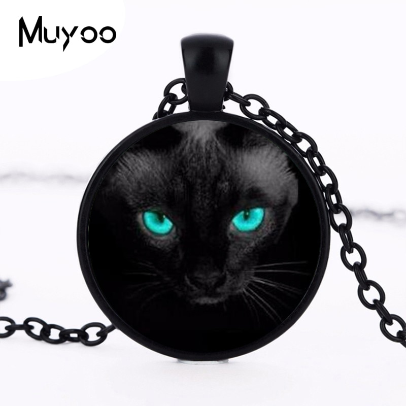 Collar de cristal de gato negro con ojos azul al por menor, collar con imagen artística, collares redondos, colgantes, gargantilla de primavera, regalo de joyería HZ1