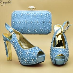 Most fashion light blue high heel sandal shoes and evening handbag set nice matching for evening dress 988-5 heel height 12cm