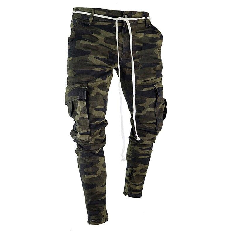 بنطلون جينز رجالي كاجوال ، بنطلون رياضي ، نحيف ، مسنن ، مطوي ، نحيف ، قابل للتمدد ، متعدد الجيوب ، C