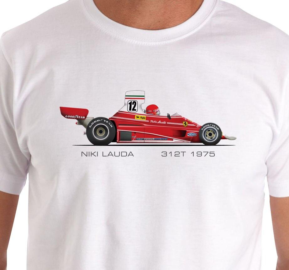 Raceart-niki lauda 1975 312t carro grande prêmio camiseta legal casual orgulho t camisa masculina unissex nova moda tshirt solto tamanho