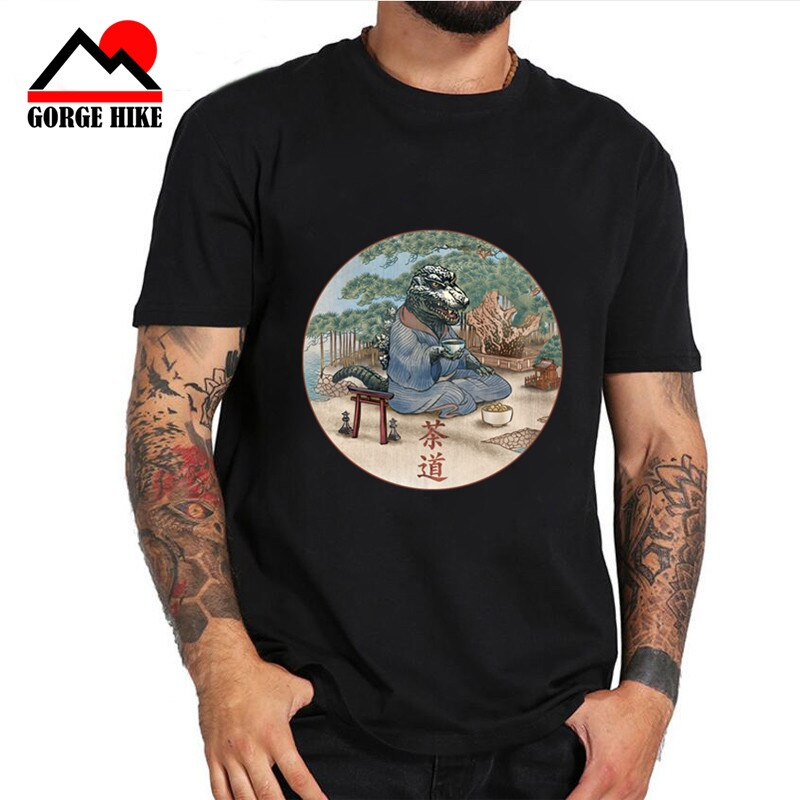 2019 camiseta de hombres de cultura china Anime dinosaurio demonio camiseta monstruo Zen Teaism ceremonia del té camiseta Japón dragón 3D monstruo regalo