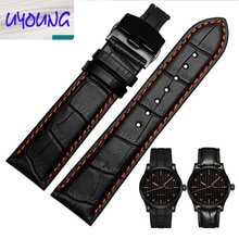 22mm 23mm univesal fit Leather watch band for M005 M005930 series pilot slub belt butterfly buckle