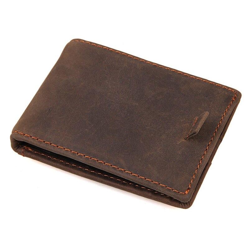 RFID Blocking Slim Bifold Import Crazy Horse Genuine Leather Minimalist Front Pocket Wallets for Men with Mone Clip