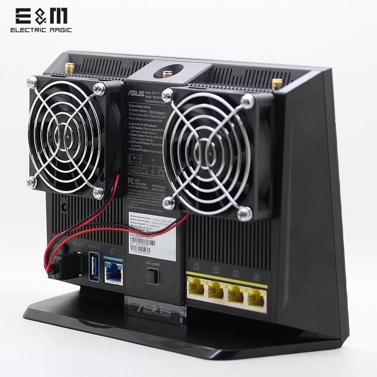 E&M Cooling Fan Heat Radiator USB Power Ultra Silent Dissipate Temperature Control For RT-AC68U EX6200 AC15 AC68U Router