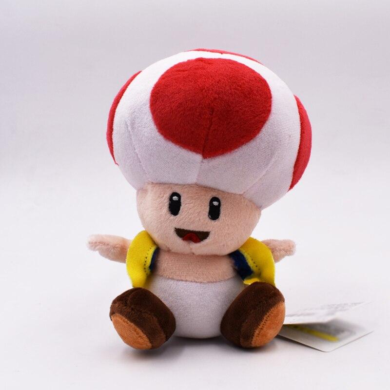 7 18 cm Super Mario Bros Brinquedos de Pelúcia Cogumelo Toad Mario Macio Stuffed Plush Doll com Otário Brinquedo Do Bebê pingente Frete Grátis