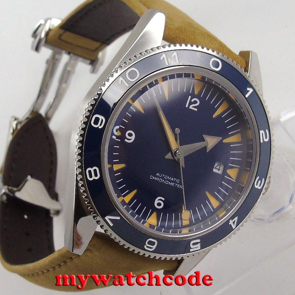 41mm debert blue sterile sandwich dial miyota 8215 movement leather strap deployment clasp Automatic mens Watch 86B