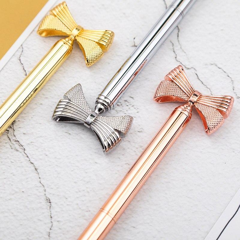 Брендовая 0,5 мм модная металлическая шариковая ручка с милым бантом, роскошная Шариковая ручка для девушек, подарок для деловых девушек, кан...