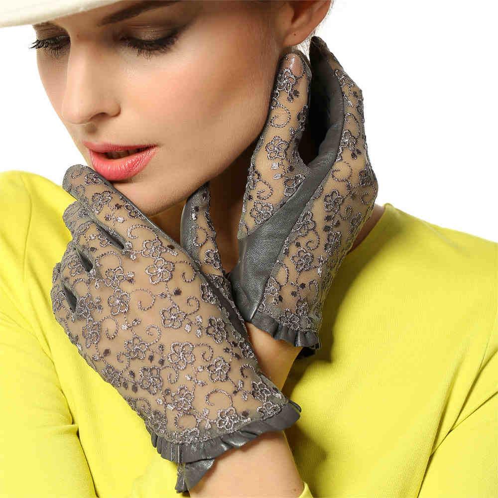 Guantes de cuero genuino para mujer a la moda elegantes guantes de piel de oveja de encaje sin forro estilo corto informal guante de protección solar L095N