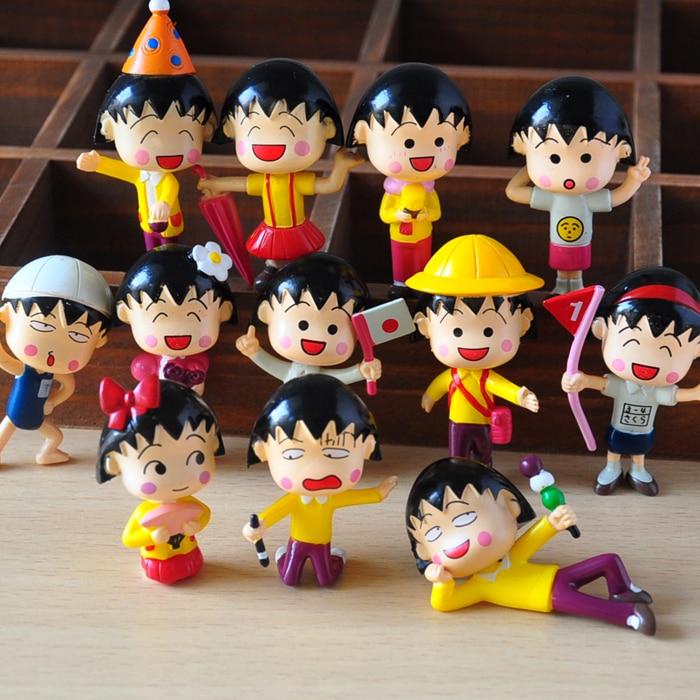 12pcs/lot 5cm Chibi Maruko Chan Action Figures Sakura Momoko Dolls PVC Figure Garage Kit Toy Brinquedos Anime