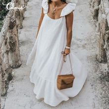 Bohemian Kleid Frauen Rüschen Lange Party Kleid 2021 Sommer Strand Celmia Casual Lose Sexy Damen Plissee Maxi Vestidos Plus Größe