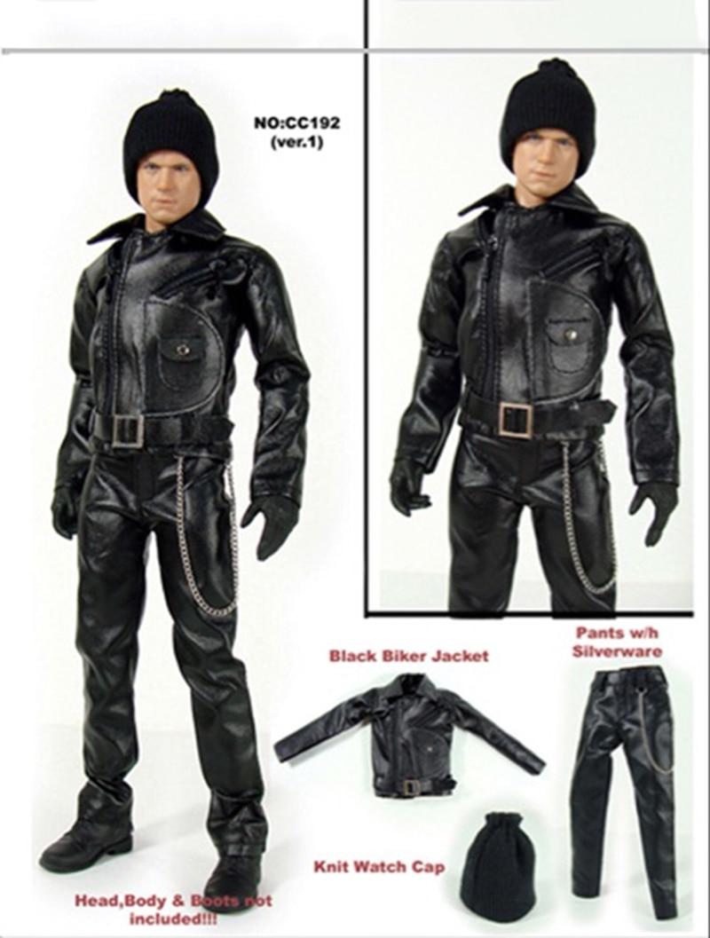 1/6 noir cuir moto pardessus pantalon ceinture chapeau ensemble modèles pour 12 'figurines corps accessoires