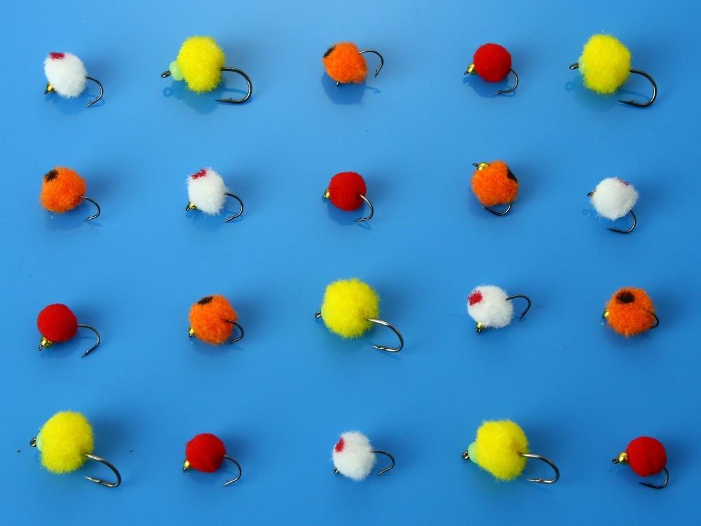 40 Pcs Ovo de Glo Bug Mosca Voa Flâmulas Amarelo/Vermelho/Laranja/White Salmon Trout Fly Fishing Lures