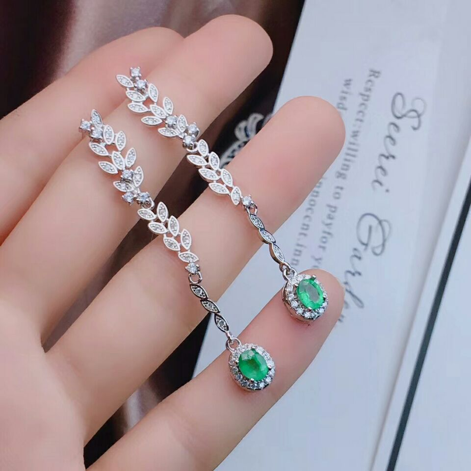 MeiBaPJ-أقراط من الفضة الإسترليني عيار 925 مرصعة بالأحجار الكريمة الخضراء والزمردية ، مجوهرات راقية مع زهرة